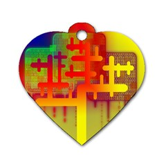 Binary Binary Code Binary System Dog Tag Heart (two Sides) by Simbadda