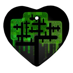 Binary Binary Code Binary System Ornament (heart) by Simbadda