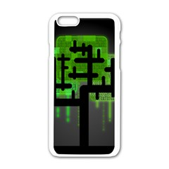Binary Binary Code Binary System Apple Iphone 6/6s White Enamel Case by Simbadda