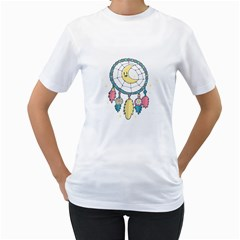 Cute Hand Drawn Dreamcatcher Illustration Women s T Shirt (white) (two Sided) by TastefulDesigns
