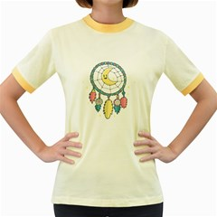 Cute Hand Drawn Dreamcatcher Illustration Women s Fitted Ringer T Shirts by TastefulDesigns