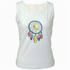 Cute Hand Drawn Dreamcatcher Illustration Women s White Tank Top by TastefulDesigns