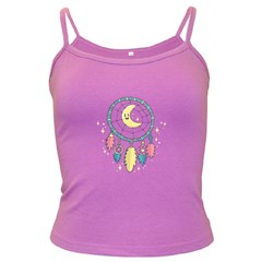 Cute Hand Drawn Dreamcatcher Illustration Dark Spaghetti Tank by TastefulDesigns