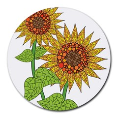 Sunflowers Flower Bloom Nature Round Mousepads by Simbadda