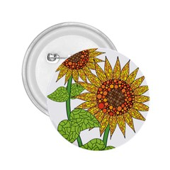 Sunflowers Flower Bloom Nature 2 25  Buttons by Simbadda
