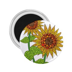 Sunflowers Flower Bloom Nature 2 25  Magnets by Simbadda