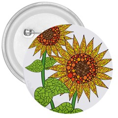 Sunflowers Flower Bloom Nature 3  Buttons by Simbadda
