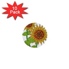 Sunflowers Flower Bloom Nature 1  Mini Buttons (10 Pack)  by Simbadda