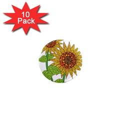 Sunflowers Flower Bloom Nature 1  Mini Magnet (10 pack)  by Simbadda