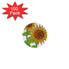 Sunflowers Flower Bloom Nature 1  Mini Buttons (100 Pack)  by Simbadda