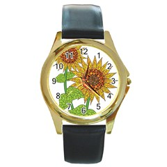 Sunflowers Flower Bloom Nature Round Gold Metal Watch by Simbadda