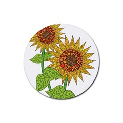 Sunflowers Flower Bloom Nature Rubber Round Coaster (4 Pack)  by Simbadda