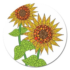 Sunflowers Flower Bloom Nature Magnet 5  (round) by Simbadda