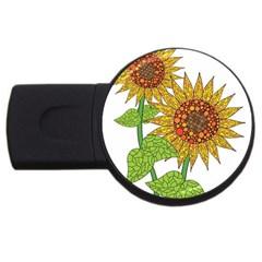 Sunflowers Flower Bloom Nature Usb Flash Drive Round (4 Gb) by Simbadda