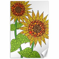Sunflowers Flower Bloom Nature Canvas 24  X 36  by Simbadda