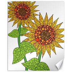 Sunflowers Flower Bloom Nature Canvas 11  X 14   by Simbadda