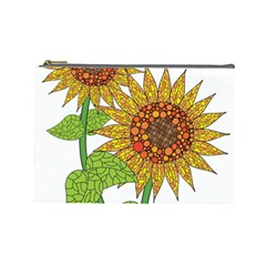 Sunflowers Flower Bloom Nature Cosmetic Bag (large)  by Simbadda