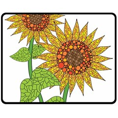 Sunflowers Flower Bloom Nature Fleece Blanket (medium)  by Simbadda