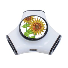 Sunflowers Flower Bloom Nature 3 Port Usb Hub by Simbadda
