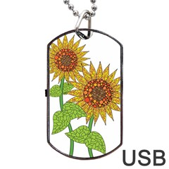 Sunflowers Flower Bloom Nature Dog Tag Usb Flash (one Side) by Simbadda