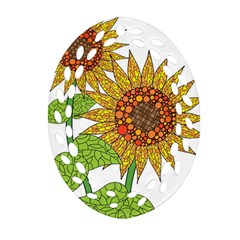 Sunflowers Flower Bloom Nature Oval Filigree Ornament (two Sides) by Simbadda