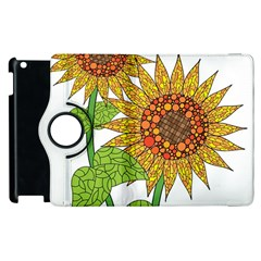 Sunflowers Flower Bloom Nature Apple Ipad 2 Flip 360 Case by Simbadda