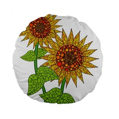 Sunflowers Flower Bloom Nature Standard 15  Premium Flano Round Cushions by Simbadda
