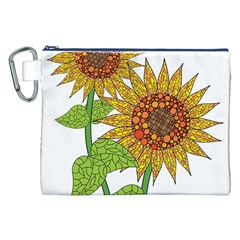 Sunflowers Flower Bloom Nature Canvas Cosmetic Bag (xxl) by Simbadda