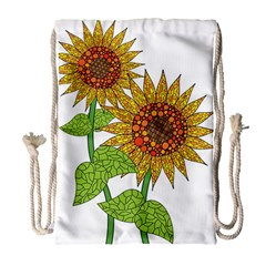 Sunflowers Flower Bloom Nature Drawstring Bag (large) by Simbadda