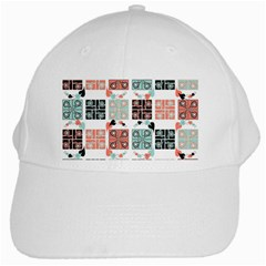 Mint Black Coral Heart Paisley White Cap by Simbadda