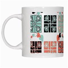 Mint Black Coral Heart Paisley White Mugs by Simbadda