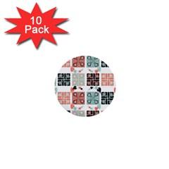Mint Black Coral Heart Paisley 1  Mini Buttons (10 Pack)  by Simbadda