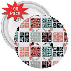 Mint Black Coral Heart Paisley 3  Buttons (100 Pack)  by Simbadda