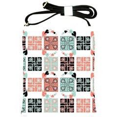 Mint Black Coral Heart Paisley Shoulder Sling Bags by Simbadda