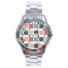 Mint Black Coral Heart Paisley Stainless Steel Analogue Watch by Simbadda
