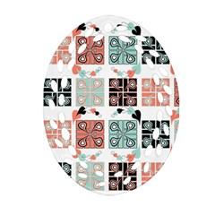 Mint Black Coral Heart Paisley Ornament (oval Filigree) by Simbadda