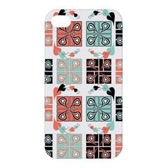 Mint Black Coral Heart Paisley Apple Iphone 4/4s Hardshell Case by Simbadda