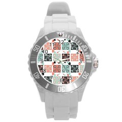 Mint Black Coral Heart Paisley Round Plastic Sport Watch (l) by Simbadda