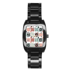 Mint Black Coral Heart Paisley Stainless Steel Barrel Watch by Simbadda