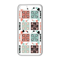 Mint Black Coral Heart Paisley Apple Iphone 5c Seamless Case (white) by Simbadda