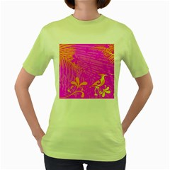 Spring Tropical Floral Palm Bird Women s Green T Shirt by Simbadda