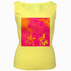 Spring Tropical Floral Palm Bird Women s Yellow Tank Top