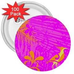 Spring Tropical Floral Palm Bird 3  Buttons (100 Pack)  by Simbadda