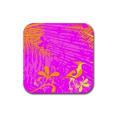Spring Tropical Floral Palm Bird Rubber Coaster (square)  by Simbadda