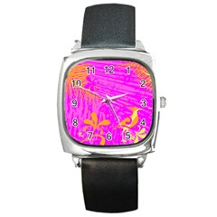 Spring Tropical Floral Palm Bird Square Metal Watch by Simbadda