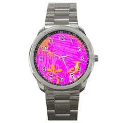 Spring Tropical Floral Palm Bird Sport Metal Watch by Simbadda