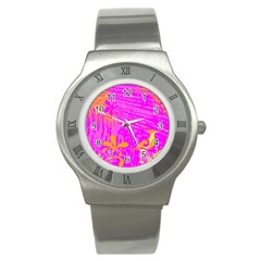 Spring Tropical Floral Palm Bird Stainless Steel Watch by Simbadda