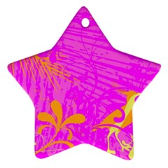 Spring Tropical Floral Palm Bird Star Ornament (two Sides) by Simbadda