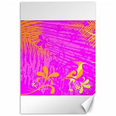 Spring Tropical Floral Palm Bird Canvas 24  X 36  by Simbadda