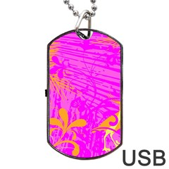 Spring Tropical Floral Palm Bird Dog Tag Usb Flash (two Sides) by Simbadda